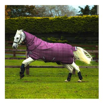 Horseware RHINO PLUS TURN OUT VL - Coperta da paddock 250g berry/grey/white chk/berry