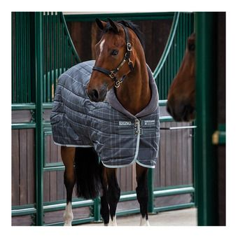 Horseware RHINO ORIGINAL STABLE 250G - Couverture de box char/gray/white check/char