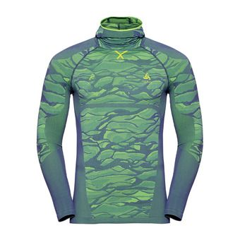 Odlo BLACKCOMB - Sous-couche Homme bering sea/safety yellow neon/safety yellow neon