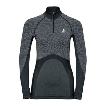 T-shirt ML 1/2 zip BLACKCOMB Femme black - odlo steel grey - silver