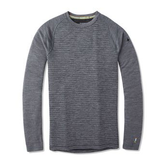 M Merino250 BLPtrnCrewBxd Homme MEDIUM GRAY TICK STITCH