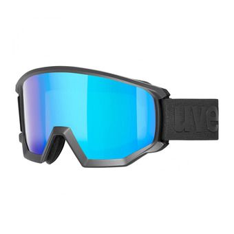 Uvex ATHLETIC CV - Masque ski black mat/mirror blue radar