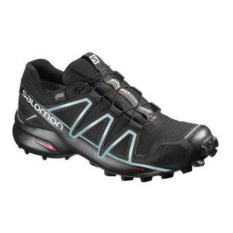 Salomon SPEEDCROSS 4 GTX - Trail Shoes - Women's - black/metallic bubble blue