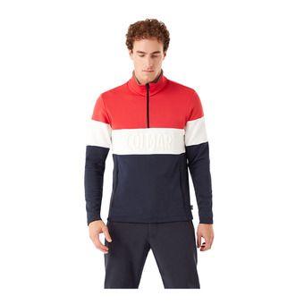 Colmar HALF ZIP EMBOSSED STRETCH - Sweat Homme blue black/bright red