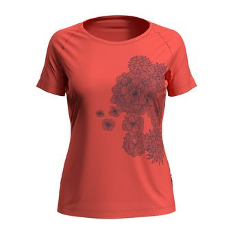 T-shirt s/s crew neck CONCORD Femme hot coral - bloom print SS20
