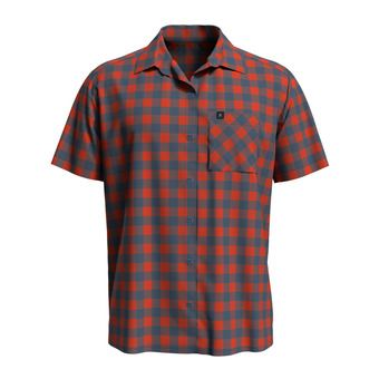 Shirt s/s MYTHEN Homme mandarin red - china blue - check