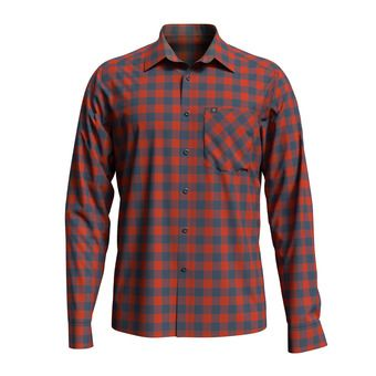 Shirt l/s MYTHEN Homme mandarin red - china blue - check