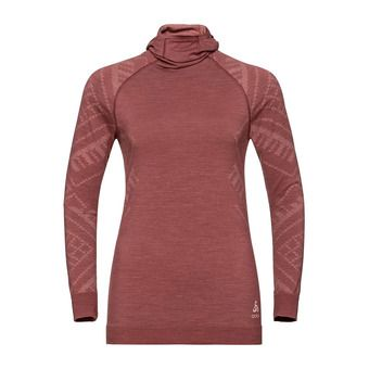 T-shirt ML capuche NATURAL KINSHIP Femme roan rouge melange