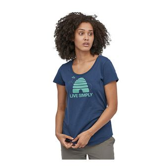 W's Live Simply Hive Organic Scoop T-Shirt Femme Stone Blue