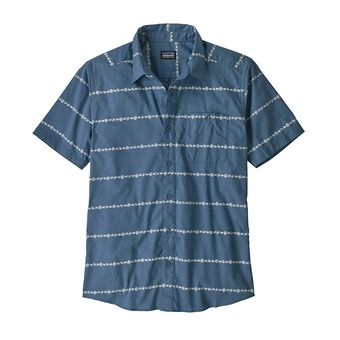 M's Go To Shirt Homme Hemp Stripe: Pigeon Blue