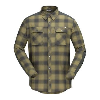 svalbard flannel Shirt (M) Olive Drab/Slate GreyHomme