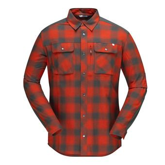 svalbard flannel Shirt (M) Rooibos Tea/Slate Grey Homme