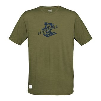 svalbard wool T-Shirt (M) Olive DrabHomme