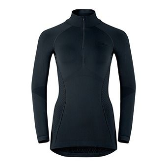 Sous-couche ML 1/2 zip femme EVOLUTION WARM black/odlo graphite grey