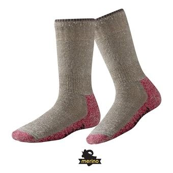 Calcetines de senderismo mujer MOUNTAINEERING EXTRA HEAVY CREW taupe/bright pink