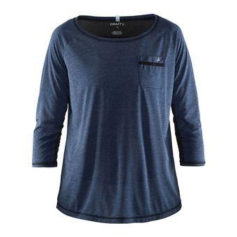 Tee-shirt manches 3/4 femme HABIT depth chine/noir