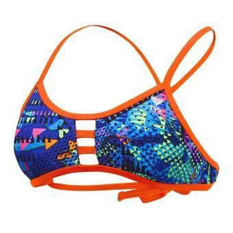 Top de bikini mujer MACHU TIEBACK blue/multi