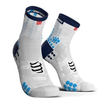 Compressport PRORACING V3 RUN HIGH - Chaussettes white/blue