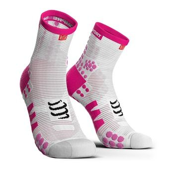 Chaussettes montantes femme PRORACING V3 RUN blanc/rose